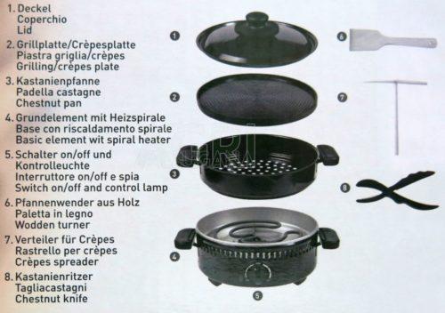 contenuto confezione cuocicastagne multi-grill frutty 800W