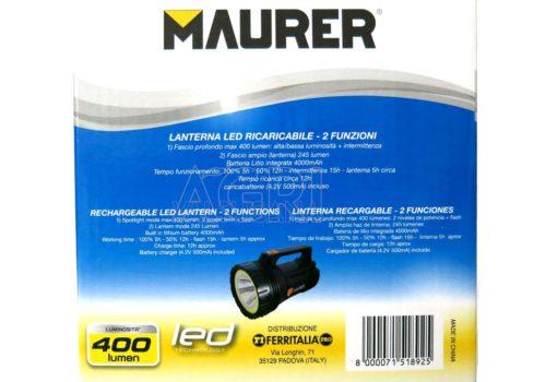 torcia ricaricabile led maurer batteria litio_51892