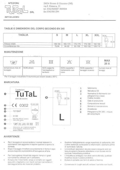 Pettorina antitaglio misura XXL 3