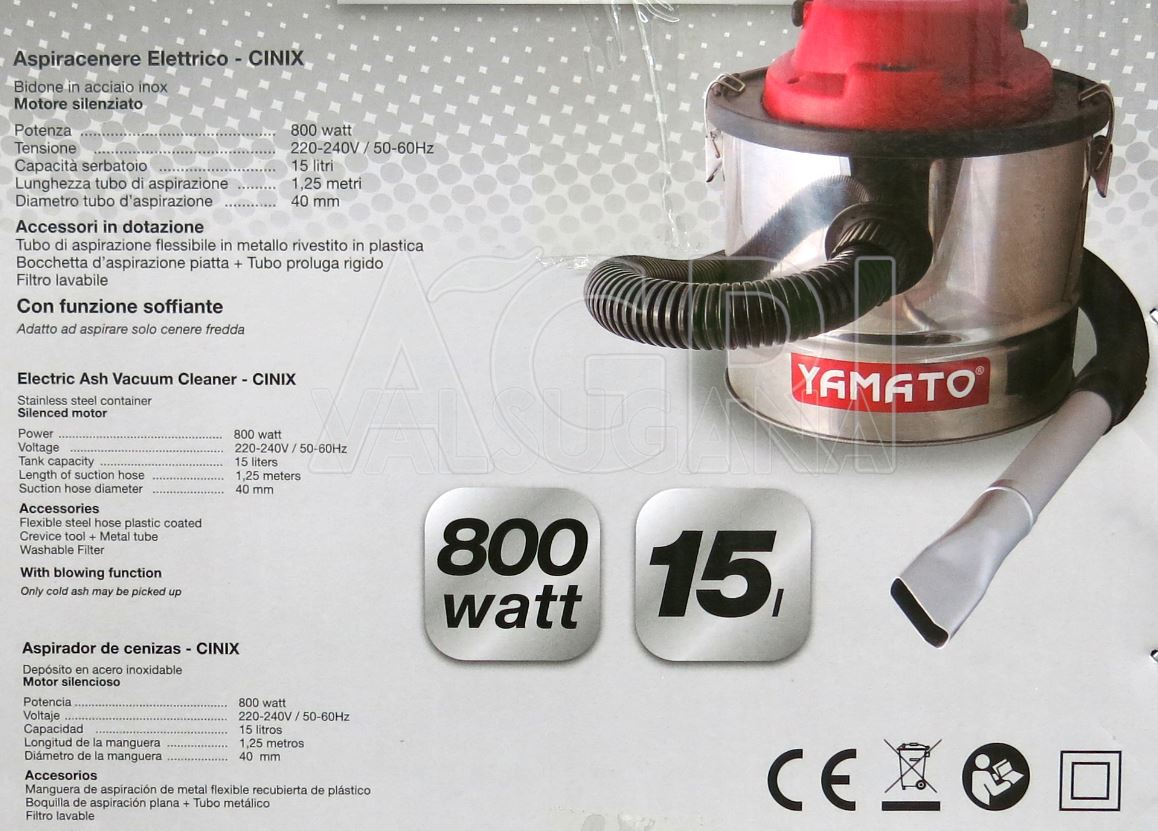 Aspiracenere Aspira Cenere Elettrico 800W 15 litri Yamato mod Cinix